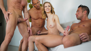 Teen meets three cocks at her first porn casting