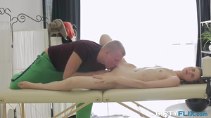 Masseur gets access to all holes of beautiful customer