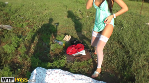 Brunette slut with tattoo fucked on green lawn