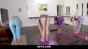 Group fucking is new yoga element for lewd babes