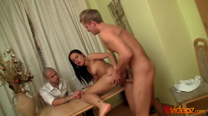 Loser sells his girlfriend to a horny young dude