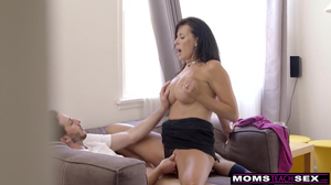 Horny stepmom seduces and fucks her stepson