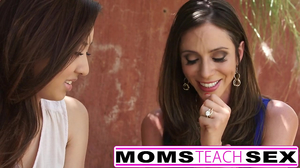 Ariella Ferrera teaches her stepdaughter how to suck cock