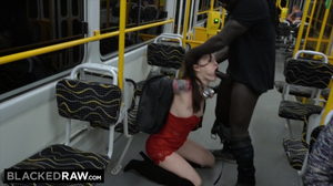 Misha Cross sucks a big black cock in a public bus