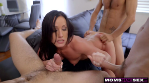 Crazy stepmom Jennifer White fucks her son's teammates