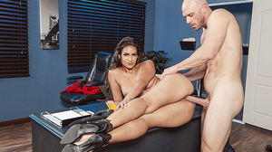 Curvy Katana Kombat gets her cunt drilled in the office