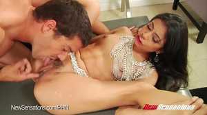 Long-haired babe in beads gets drilled hard by big dong