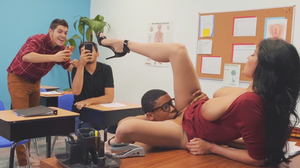 Sex Education teacher demonstrates with nerdy boy's cock