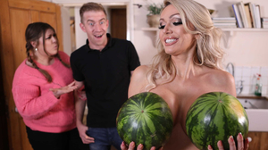 Pretty blonde with big round tits gets the dong she wants